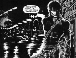 A frame from James' graphic novel The Crow.