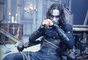 Brandon Lee in his iconic role as Eric Draven in the original Crow movie.